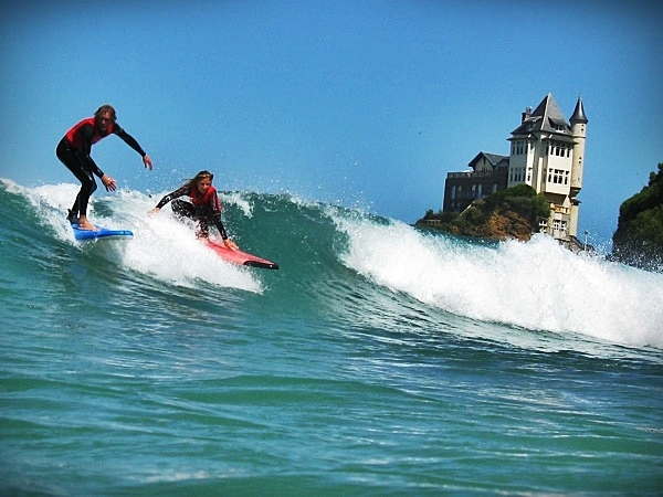 Surfing in Biarritz, France